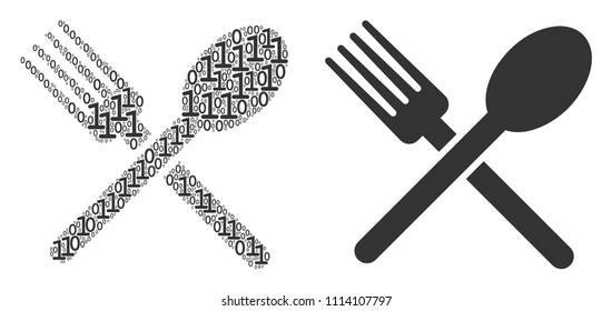 Fork and spoon collage icon of one and zero digits in various sizes. Vector digital symbols are united into fork and spoon illustration design concept.