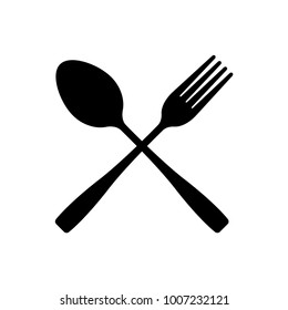 fork and spoon crossed vector icon. cutlery isolated on white background