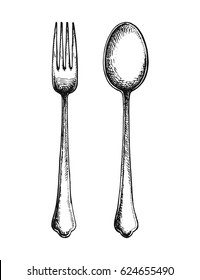 Fork and spoon hand drawing. vector illustration