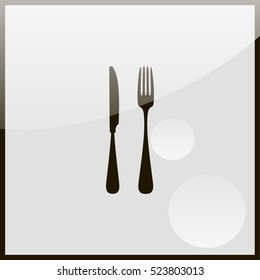 Fork and spoon icon.