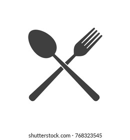 Fork and Spoon icon - simple flat design isolated on white background, vector