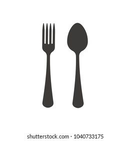 Fork and spoon icon, vector, flat design