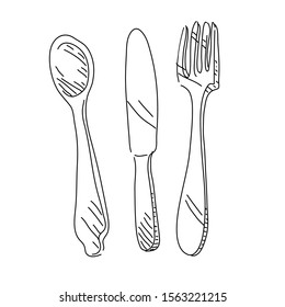 Fork, spoon and knife doodle isolated vector illustration
