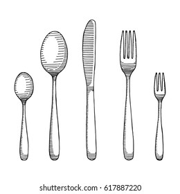 Fork and spoon with a knife drawing. Cutlery sketch vector