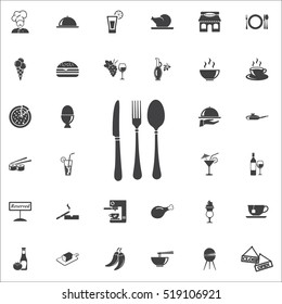 fork spoon knife icon on the white background. restaurant set of icons