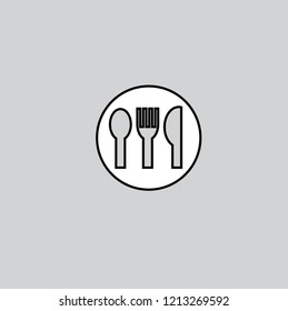 Fork spoon knife icon.Mobile style sign for mobile and web design. Cutlery simple line vector icon. Restaurant symbol