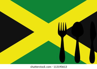 Fork, spoon and knife isolated on the Jamaica flag