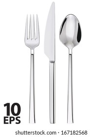 Fork, spoon and knife isolated on white. Vector illustration