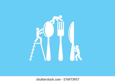 Fork, spoon, knife and people icon vector illustration .