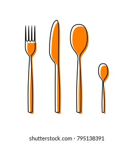 Fork spoon and knife sign. Vector. Black line icon with shifted flat orange filled icon on white background. Isolated.