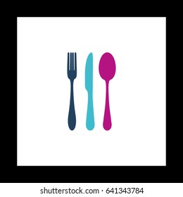 fork spoon knife Simple vector button. Illustration symbol. Color flat icon