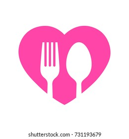 Fork and spoon on heart, Icon flat design on white background, Love dining or romance concept idea, Vector illustration