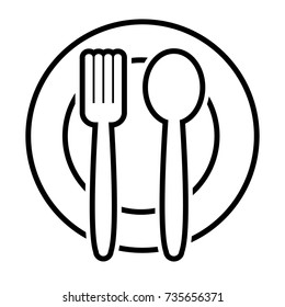 Fork and spoon on plate, outline design. Vector illustration