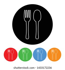 Fork and spoon silverware icon symbol in a black circle vector food sign illustration with four color variations isolated on a white background