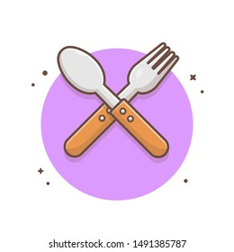 Fork and Spoon Vector Icon Illustration. Crossed Spoon Over Fork. Logo for Cafe and Restaurant. Flat Cartoon Style Suitable for Web Landing Page, Banner, Flyer, Sticker, Wallpaper, Background