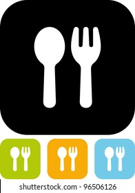 Fork and spoon - Vector icon isolated