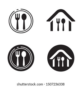 Fork and spoon vector illustration with black and white color suitable for restaurant symbol