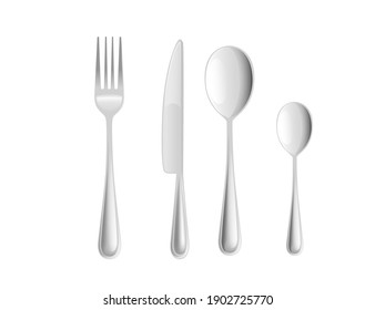 Fork spoons and knife stainless steel kitchen cutlery set for restaurants cafes vector illustration on white background realism style