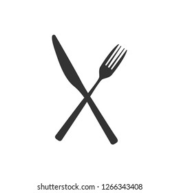 Сrossed Fork and Table-Knife. Vector eat concept.