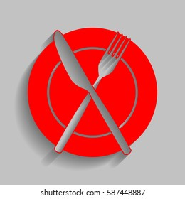 Fork, tape and Knife sign. Vector. Red icon with soft shadow on gray background.