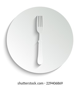 fork - vector icon with shadow on a round button