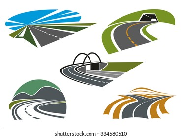 Forked road, mountain highways with tunnel and steep turn, road bridge and speed freeway with blue sky, for transportation industry or travel theme icon design