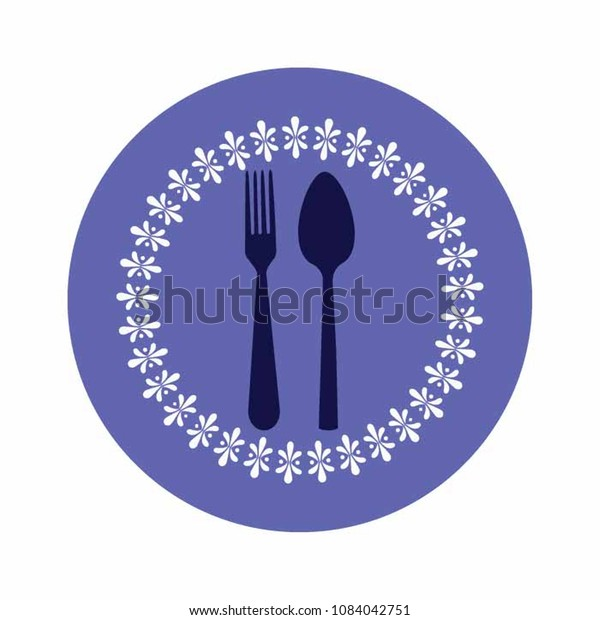 Forkknife Icon Vector Blue Plate Restaurant Stock Vector