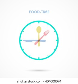 Fork,knife and spoon sign.Food time icon.Eating time concept.Business,food and drink concept. Vector illustration.