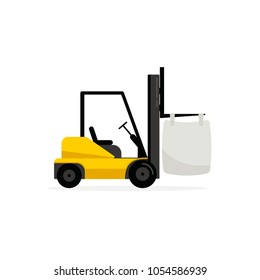 Forklift with big bag. Vector image isolated on white background