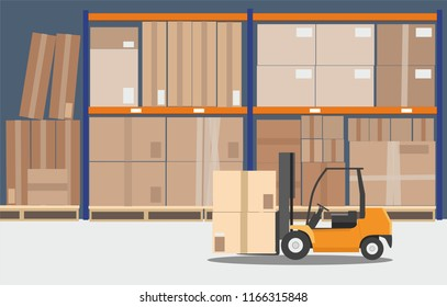 The forklift in the big warehouse delivery .  Vector illustration