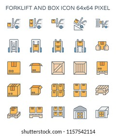 Forklift and box icon set, 64x64 perfect pixel and editable stroke.
