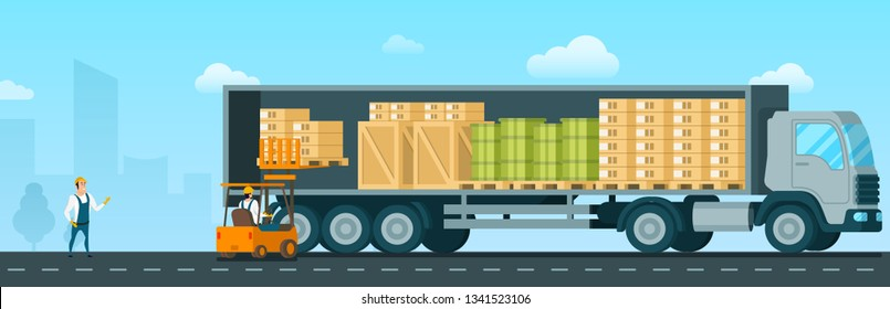 Forklift Car Loading Box Up to Shipping Truck. Factory Engineer Driving Loader with Goods to Delivery Van. Storage Worker in Uniform Standing Infront. Flat Cartoon Vector Illustration