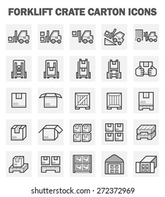 Forklift and cargo container for shipping work vector icon set design.