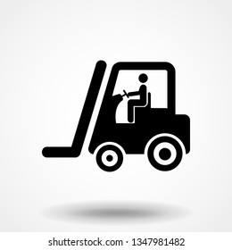Forklift cargo men transport heavy weight freight shipping icon symbol vector illustration pictogram