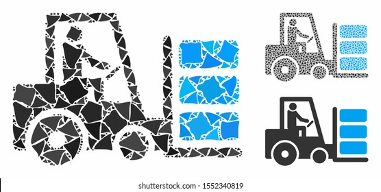Forklift composition of raggy pieces in different sizes and color tones, based on forklift icon. Vector unequal pieces are organized into collage. Forklift icons collage with dotted pattern.