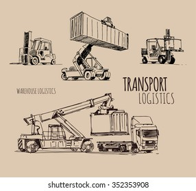 forklift with container. Hand drawn sketch illustration