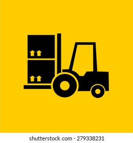Forklift delivery truck vector icons