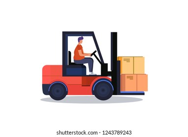 forklift driver loader pallet stacker truck equipment warehouse delivery concept isolated flat
