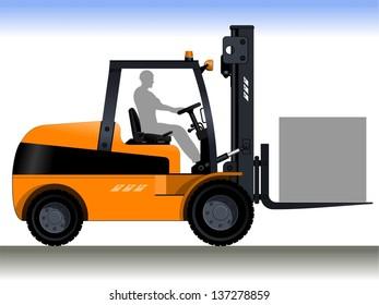 Forklift Driver. Orange forklift. A silhouette of a worker in a forklift. Vector illustration.