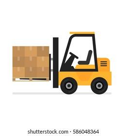 Forklift flat vector icon. Illustration of forklift truck is raising a pallet.