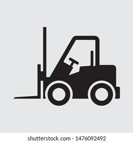 Forklift flat vector icon, sign