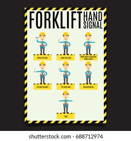 Forklift Hand Signal Poster. Poster vector for workplace.
