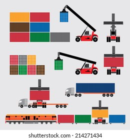 forklift handling the container box, transportation concept