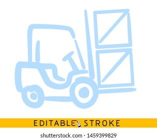 Forklift icon. Blue color line doodle sketch. Editable stroke icon.