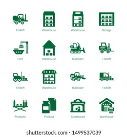 forklift icons. Editable 16 forklift icons. Included icons such as Forklift, Warehouse, Storage, Port, Bulldozer, Products, Product, Storehouse. trendy icons for web.