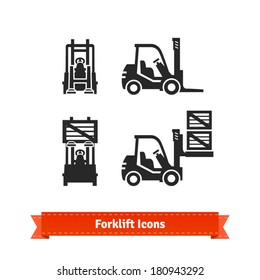 Forklift icons set.