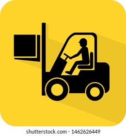 Forklift lifting weight illustration. Working area or construction site. Flat 3D shadow design. yellow background black vector. product brand service label banner board display. App icon.