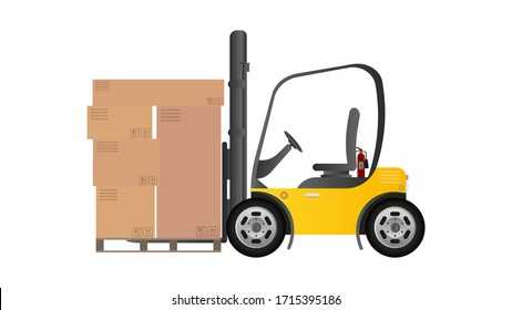 A forklift lifts a pallet with boxes. Industrial forklift. Pallet with boxes. Isolated. Vector design.