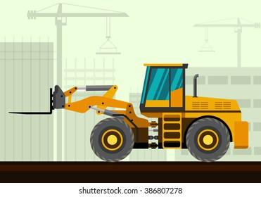 Forklift loader industrial crane with construction background. Side view crane vector illustration
