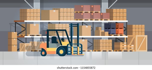 forklift loader pallet stacker truck equipment warehouse interior background rack box international delivery concept flat horizontal vector illustration